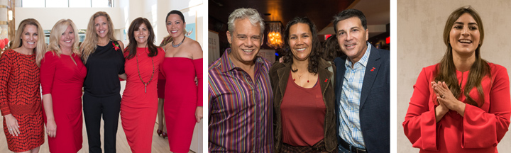 Photo collage of men and women wearing red